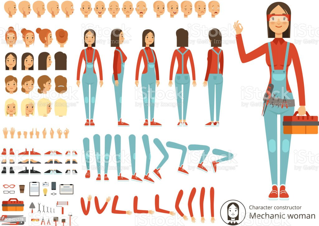 Big creation kit of girl mechanic in working clothes. Vector constructor with body parts vector art illustration