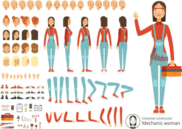 big creation kit of girl mechanic in working clothes. vector constructor with body parts - mechanic stock illustrations, clip art, cartoons, & icons