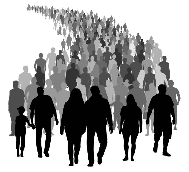 Big crowd of people is moving. Silhouette vector Big crowd of people is moving. Silhouette vector following moving activity stock illustrations