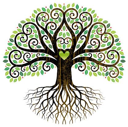 Big curly tree in leaf illustration