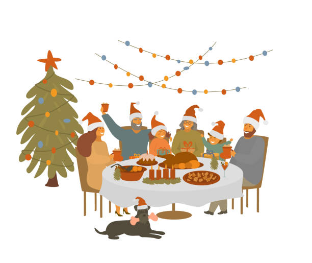 illustrazioni stock, clip art, cartoni animati e icone di tendenza di big cute cartoon family,  parents grandparents and children gather at xmas table, celebrating christmas eve isolated vector illustration scene - cena natale