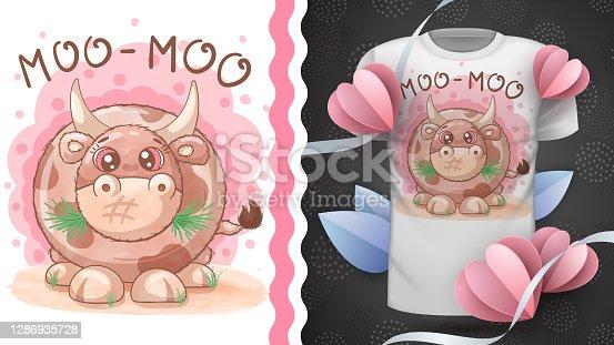 Big cute cow - idea for print t-shirt