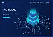 Digital technology banner. Big data analysis algorithm on a dark blue background. Artificial intelligence concept. Vector illustration.