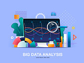 Big data analysis flat concept with gradients. Online analysis tools, software development company web template. Big data analytics and business intelligence 3d composition, vector illustration.