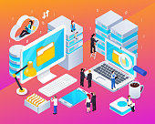 Big data streams processing analysis technologies tools isometric colorful glow composition with computer cloud office vector illustration