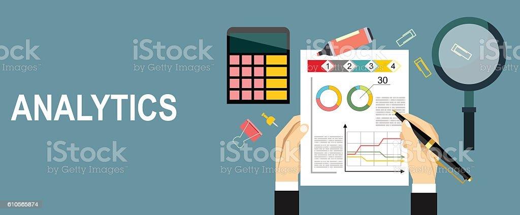 big data analysis, seo analytics vector art illustration