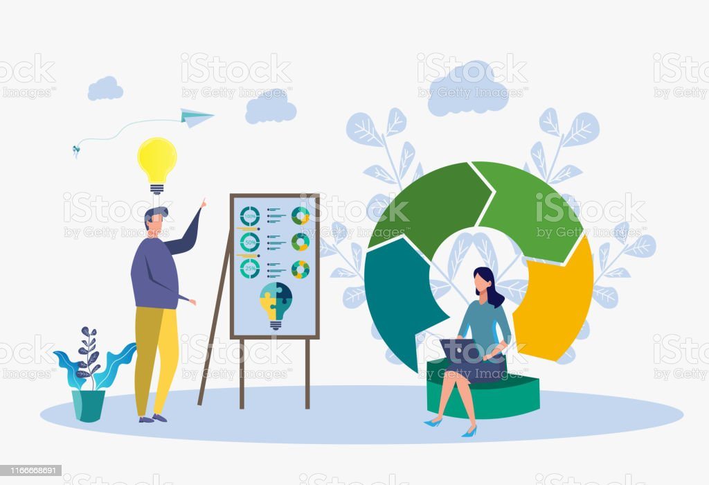 Big data analysis. Teamwork, developer, programmer. Business people...