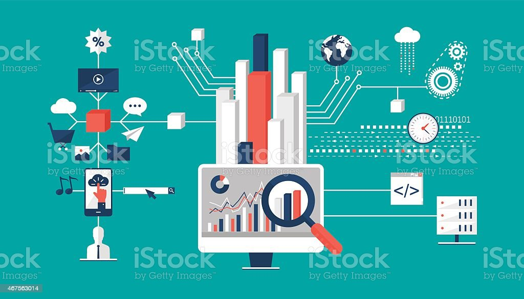 Big data analysis vector art illustration