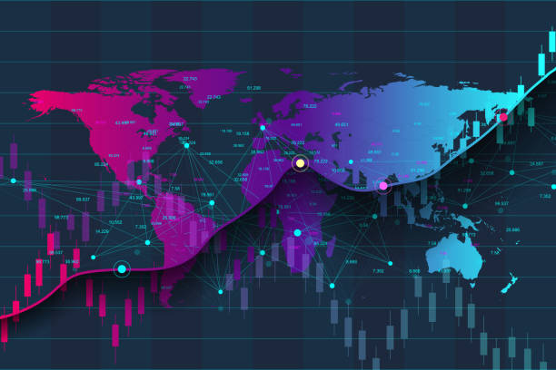 Big data analytics and business intelligence. Digital analytics concept with graph and charts. Financial schedule World Map infographic. Vector illustration Big data analytics and business intelligence. Digital analytics concept with graph and charts. Financial schedule World Map infographic. Vector illustration exchange rate stock illustrations