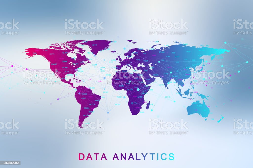 Big data analytics and business intelligence. Digital analytics concept with graph and charts. Financial schedule World Map infographic. Vector illustration vector art illustration