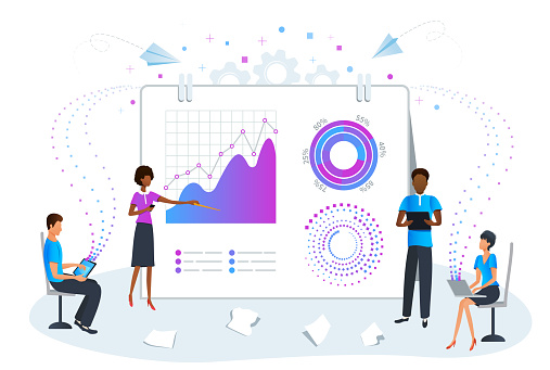Big data analytics concept. Predictive data analysis for business strategy performance. Business team on meeting working with charts and analyzing statistics report.