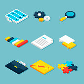 Big Data Analytics Isometric Objects. Vector Website and Business Concept Icons.