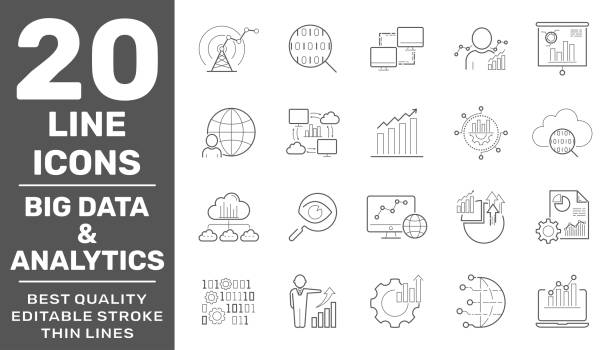 Big data and analytics icons set. Contain icons as Chart, Report document, Graph Data analytics, Presentation chart and Communication, Global Statistics, Checklist report. Editable Stroke. EPS 10 vector art illustration