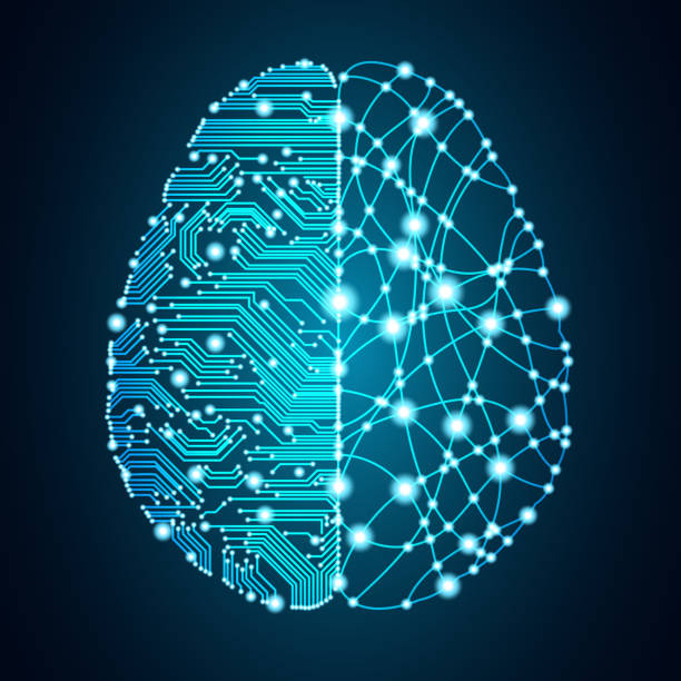 Big data and artificial intelligence brain concept. Big data and artificial intelligence concept. Machine learning and cyber mind domination concept in form of human brain outline outline with circuit board and binary data flow on blue background. machine learning stock illustrations