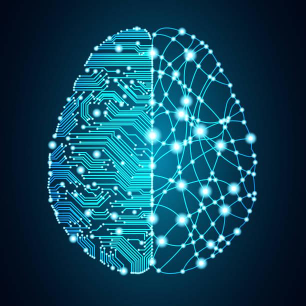 ilustraciones, imágenes clip art, dibujos animados e iconos de stock de gran concepto cerebro datos e inteligencia artificial. - inteligencia artificial