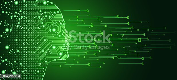 Big data and artificial intelligence concept. Machine learning and cyber mind domination concept in form of women face outline outline with circuit board and binary data flow on green background.