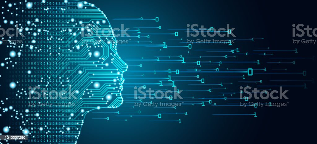 Big data and artificial intelligence concept. vector art illustration