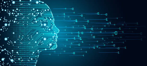 Big data and artificial intelligence concept. Big data and artificial intelligence concept. Machine learning and cyber mind domination concept in form of women face outline outline with circuit board and binary data flow on blue background. information technology stock illustrations