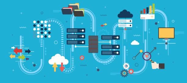 stockillustraties, clipart, cartoons en iconen met big data en cloud computing banner met pictogrammen. - opslagruimte