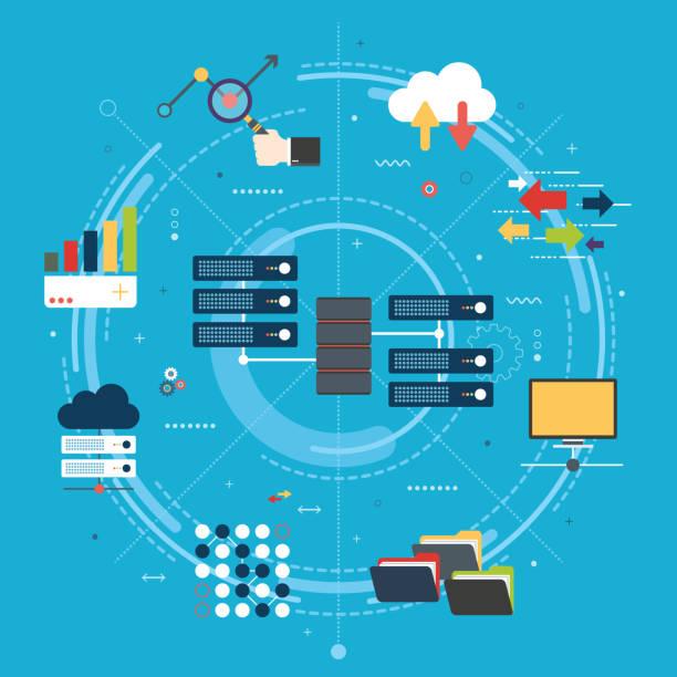 stockillustraties, clipart, cartoons en iconen met big data en cloud computing banner met pictogrammen. - netwerkserver
