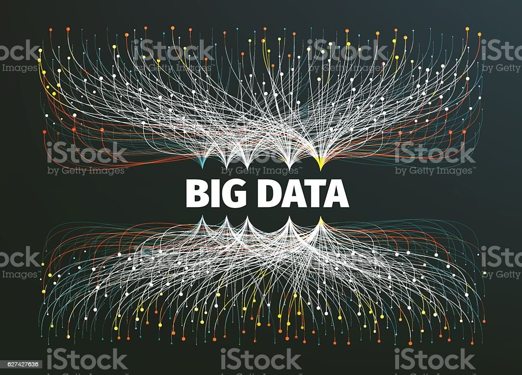 big data background vector illustration. Information streams. Future technology – artystyczna grafika wektorowa