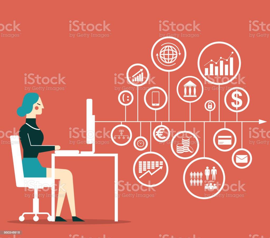 Big Data - Businesswoman - arte vettoriale royalty-free di Adulto