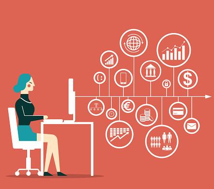Big Data Businesswoman - Immagini vettoriali stock e altre immagini di Adulto