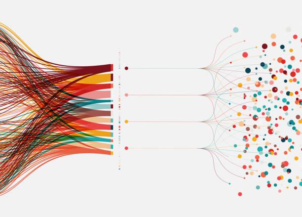 ilustrações, clipart, desenhos animados e ícones de fundo do conceito de grande volume de dados - escorrer