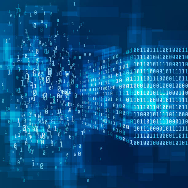 stockillustraties, clipart, cartoons en iconen met big data concept. digitale informatie visualisatie. analyse van informatie machine learning algoritmen. proces van het converteren van grote gegevens van chaos naar logische structuur. vectorillustratie - chaos