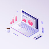 Isometric design modern vector illustration concept of  big data. Vector
