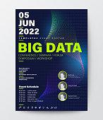 Big Data conference business design template. Futuristic spectrum wave technology background for seminar event poster, leaflet, banner, presentation.