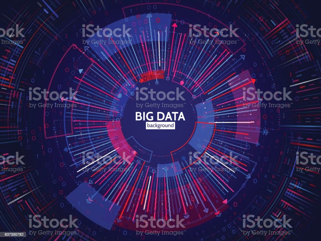 Big data connection structure. Abstract element with lines, dots and binary code. Big data visualization. – artystyczna grafika wektorowa