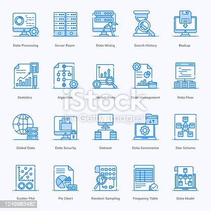 istock Big Data, Data Processing in Modern Flat Style Pack 1249983482