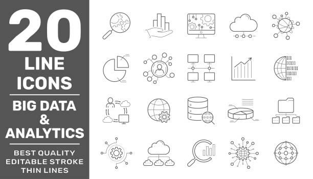 Big Data, Database analytics, information technology, digital processign icons lines set isolated vector illustration. Editable Stroke. EPS 10 vector art illustration