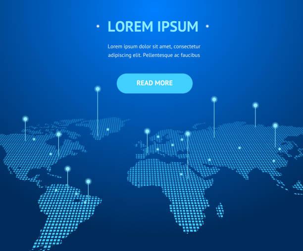 büyük veri dijital iletişim kavramı kartı arka plan. vektör - dünya haritası stock illustrations