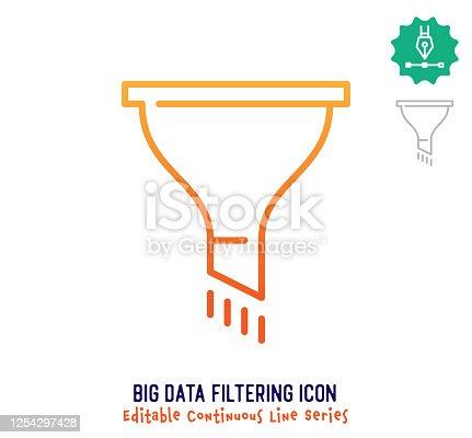 istock Big Data Filtering Continuous Line Editable Stroke Line 1254297428