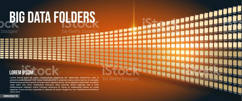 Big data folders on orange gradient background - Royalty-free Analyzing stock vector