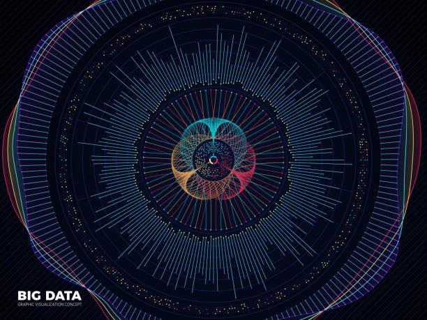 Big data graphic, complex business system visualization vector concept. Modern information digital technology background vector art illustration