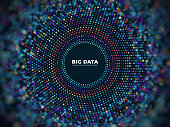 Big data information vector concept. Abstract futuristic background with 3d visualization. Illustration of data futuristic visualization digital code
