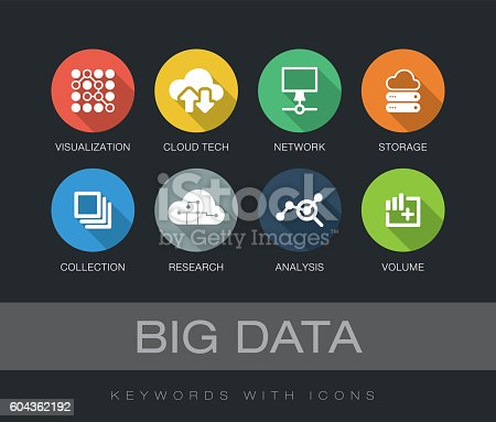 Big Data chart with keywords and icons. Flat design with long shadows