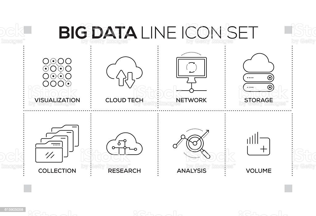 Big Data keywords with monochrome line icons