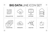 Big Data chart with keywords and monochrome line icons