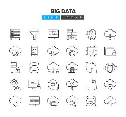 Big Data Line Icon Set