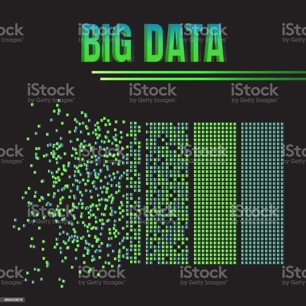Big data machine algorithms minimalistic design. Science vector background illustration. vector art illustration