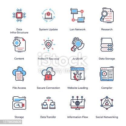 Big Data Minimal Icons - Stroked, Vectors