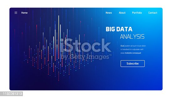 Big data analysis, computer processing visualisation, business and finance tradings, futuristic isometric vector infographics illustration