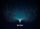 Big data network visualization concept. Digital music industry, abstract science vector background. Virtual flow big binary data visualization illustration