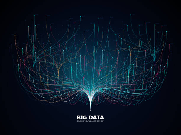 big data network visualization concept. digital music industry, abstract science vector background - digitally generated image stock illustrations, clip art, cartoons, & icons