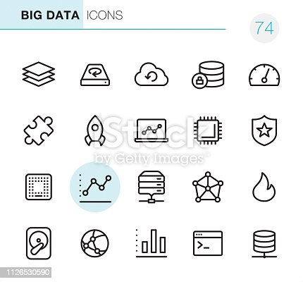 20 Big Data icons - Outline Style - Black line - Pixel Perfect / Set #74  Icons are designed in 48x48pх square, outline stroke 2px.  First row of outline icons contains:  Data Stack, Hard Disc Drive, Cloud Computing, Encryption, Dashboard;  Second row contains:  Solution, Rocket, Laptop, CPU, Network Security;  Third row contains:  Computer Chip, Graph, Mainframe, Big Data, Flame;   Fourth row contains:  Hard Drive, Global Communications, Bar Chart, Coding, Network Server.  Complete Primico collection - https://www.istockphoto.com/collaboration/boards/NQPVdXl6m0W6Zy5mWYkSyw