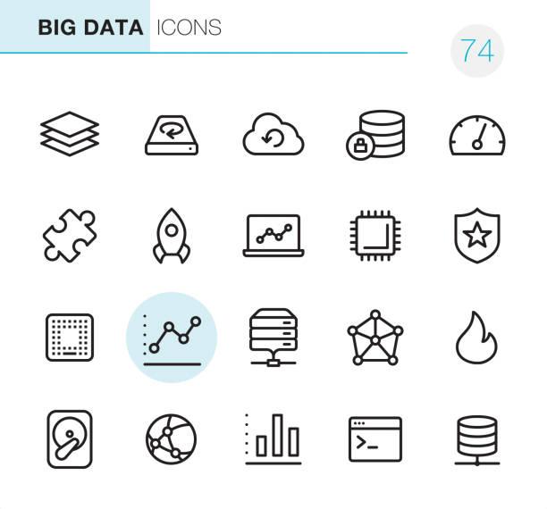 stockillustraties, clipart, cartoons en iconen met big data - pixel perfect iconen - netwerkserver